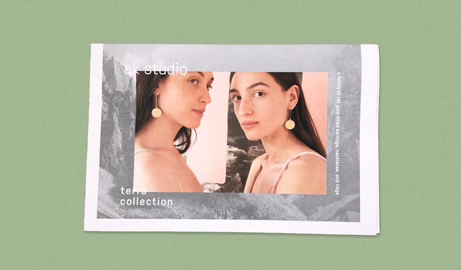 "This lookbook for jewelry brand ak studio is inspired by coastal landscapes, and showcases pieces designed to ""affirm our connection to planet earth."" Founder Anna Korte says it was was a natural decision to use newsprint for its texture and tactility. Design by Erika Skille."