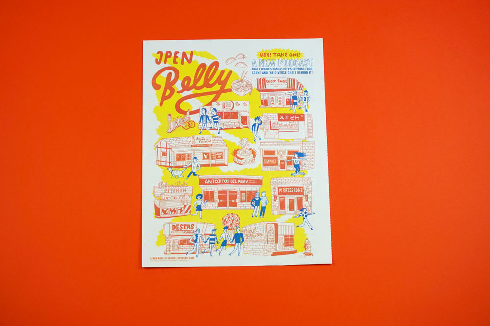 Open Belly https://www.openbellypodcast.com/ is a new podcast exploring the food culture of Kansas City, Missouri through stories from immigrant chefs. This free newspaper is a guide to the 10 restaurants featured in season one, designed and (wonderfully!) illustrated by Frank Norton.