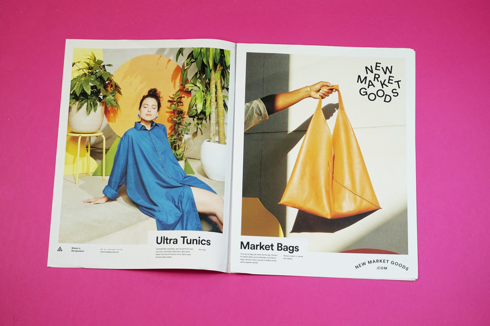 "New Market Goods works with artisans in Bangladesh to produce hand-woven garments made in ethical factories. They used a tabloid newspaper to launch their 2019 collection: ""Normally, we print small postcards but we love our photography [shot by Tropico Photo] and think the tabloid format really helps celebrate it in large format!"""