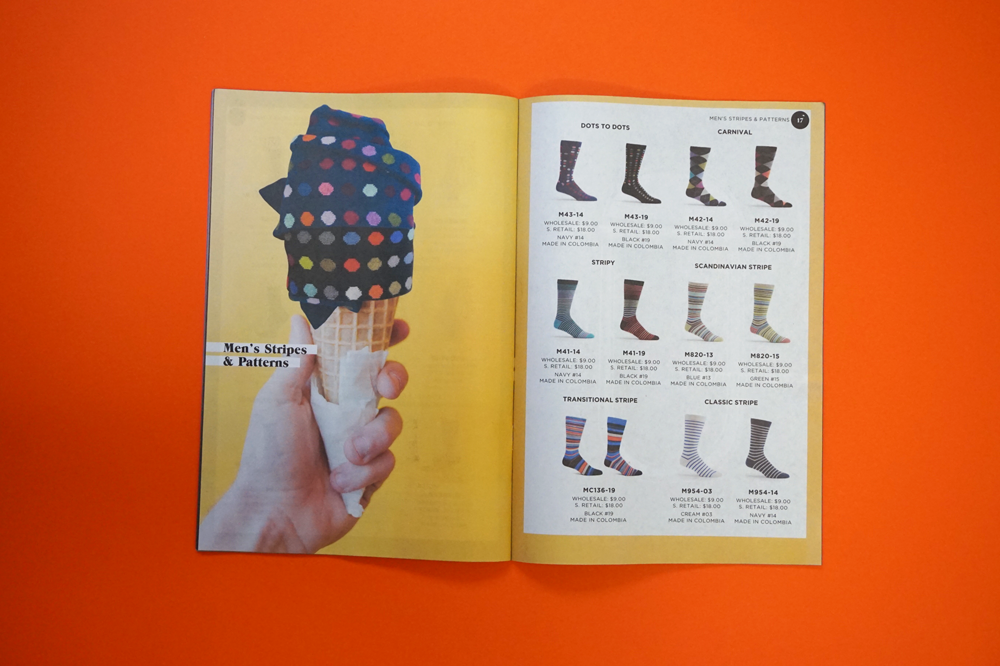 Ozone socks catalogue printed by Newspaper Club.