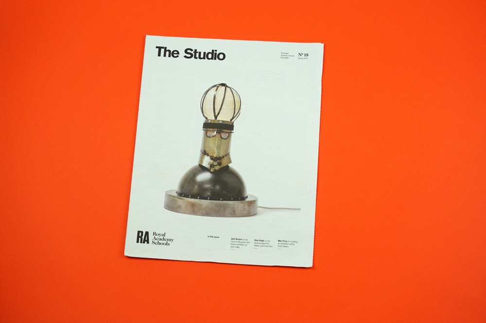 The Studio was founded as a digital newsletter in 2011 to feature interviews and projects by artists from the Royal Academy Schools in London. With sponsorship from designer Sir Paul Smith, it became a physical newspaper in 2014. We always have to think about what artworks will look best – in this issue we lucky to have a striking cover image by Kira Freije. The RA Schools is 250 years old this year, The Studio still has a lot to cover! The founding editor is Jonathan Stubbs, and design is by Matt Hunt. Instagram: @royalacademyschools
