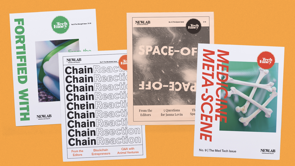Tech Fancy newspapers designed by Adriana Gallo. Printed by Newspaper Club.