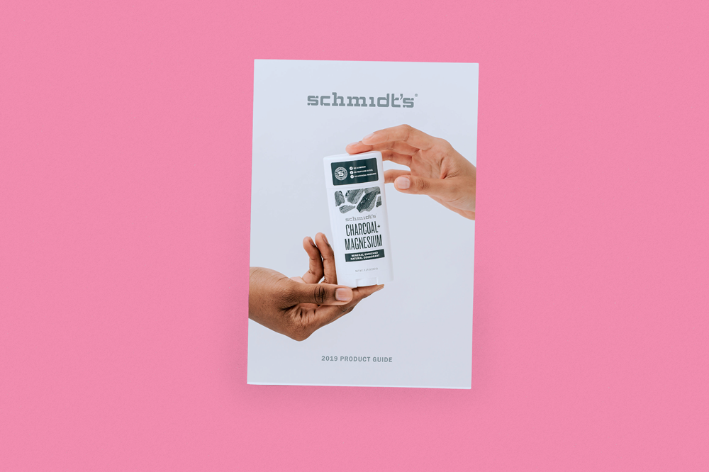 Schmidt's Natural deodorant catalogue for Natural Products Expo. Printed by Newspaper Club.