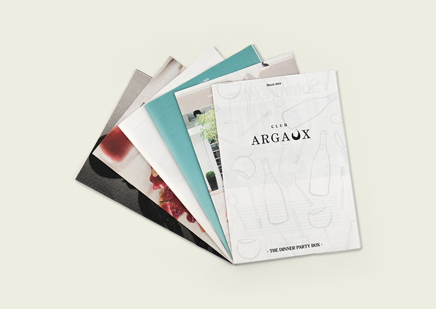 Club Argaux wine membership brochure printed by Newspaper Club