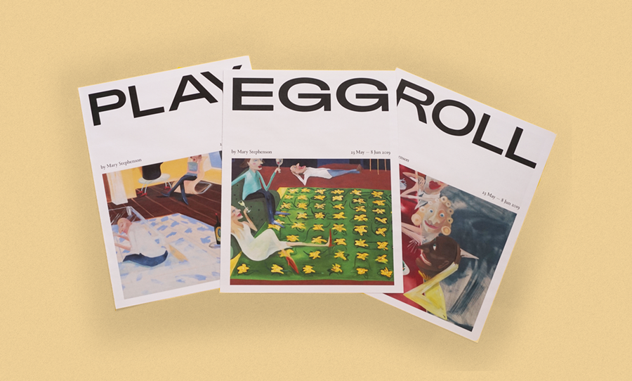 play egg roll newspaper exhibition catalogue illustration