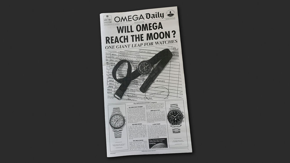 Omega Speedmaster moon landing newspaper