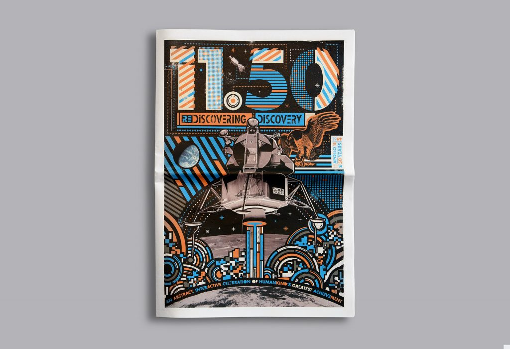 11.50 Rediscovering Discovery newspaper by Doug Pedersen, An abstract interactive newspaper celebrating the 50th anniversary of NASA's Apollo moon landings. Printed by Newspaper Club.