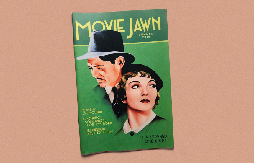 Movie Jawn zine cover with illustrations of Clark Gable and Claudette Colbert from It Happened One Night. Printed by Newspaper Club.
