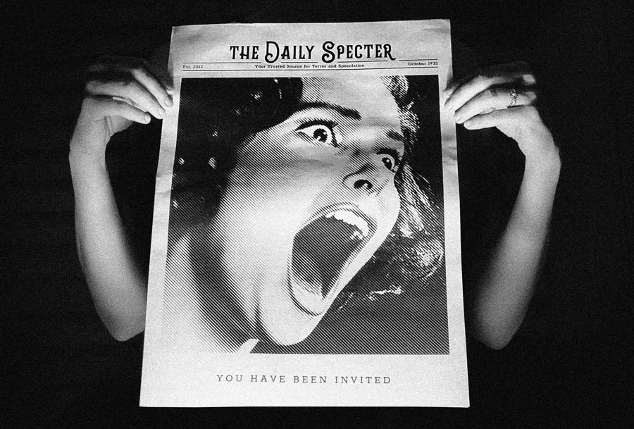 The Daily Specter newspaper for a murder mystery party! See more newspapers we loved this month in our latest print roundup.