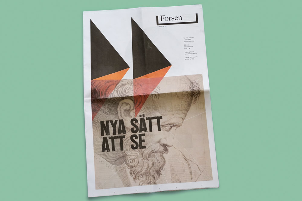Newspaper for Swedish construction company Forsen, designed by Håkan Sjöström. See more newspapers we loved this month in our latest print roundup.