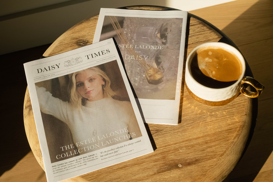 The Daisy Times newspaper from jewellery brand Daisy London. Mini zine with a photo of Estee Lalonde on the cover.