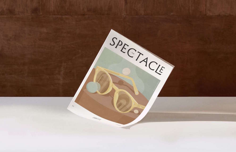 The Spectacle publication from Cubitts. Tabloid newspaper with an illustration of glasses on the cover