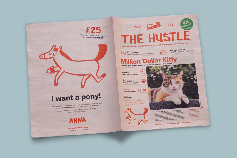 The Hustle newspaper by ANNA Money. Printed by Newspaper Club.