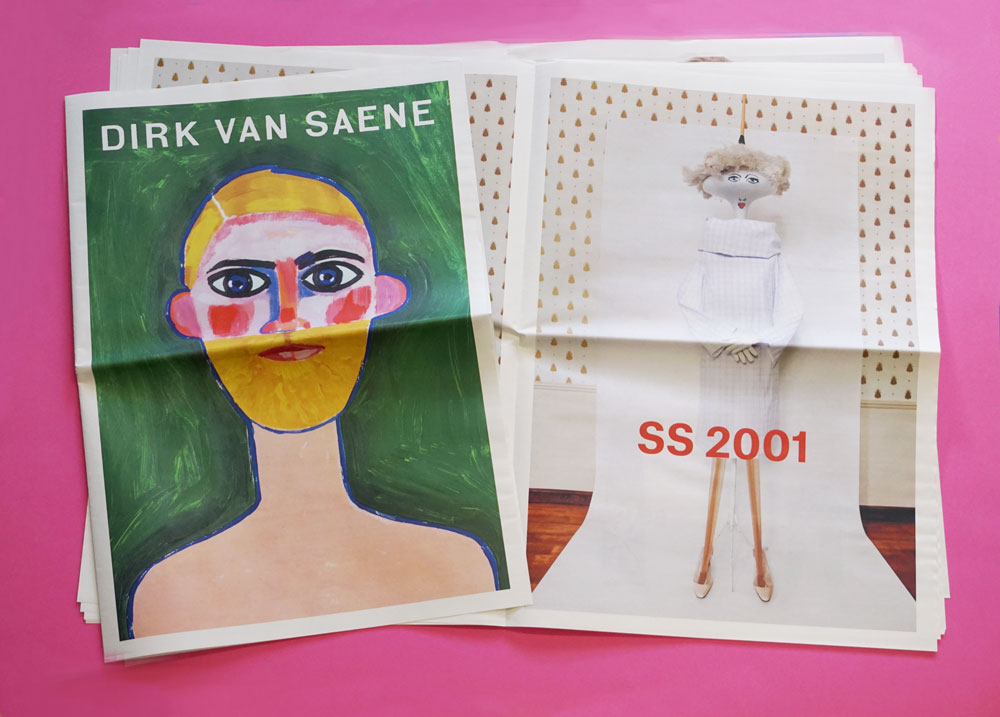 Newspaper lookbook for fashion designer Dirk Van Saene