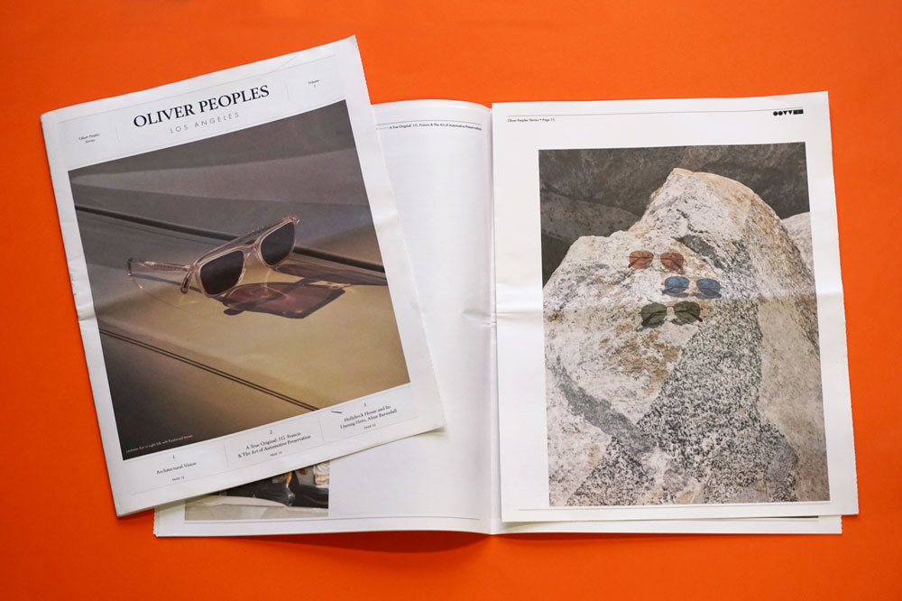 Newspaper for eyewear brand Oliver Peoples