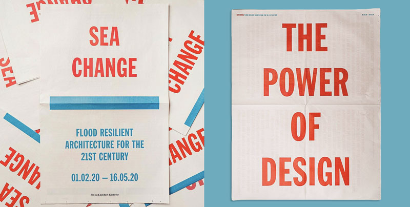 Newspaper poster for Sea Change exhibition at Roca London Gallery