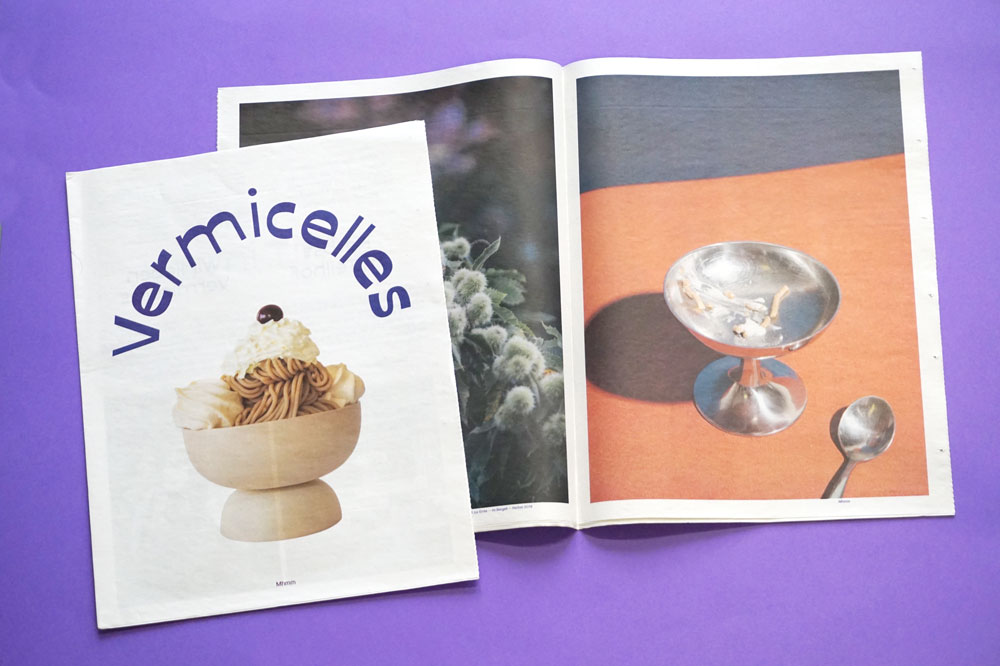 Newspaper for Vermicelles, a pop-up restaurant serving up a sweet Italian specialty