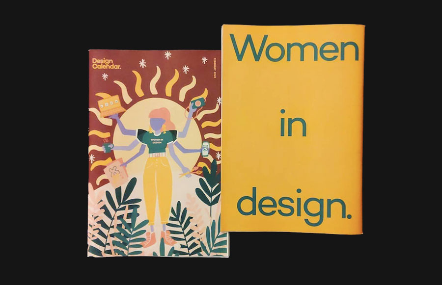 "WomeThe latest issue of Design Calendar, Women in Design, celebrates ""women who are shaping and redefining what it means to be a designer in this decade."" Printed by Newspaper Club."