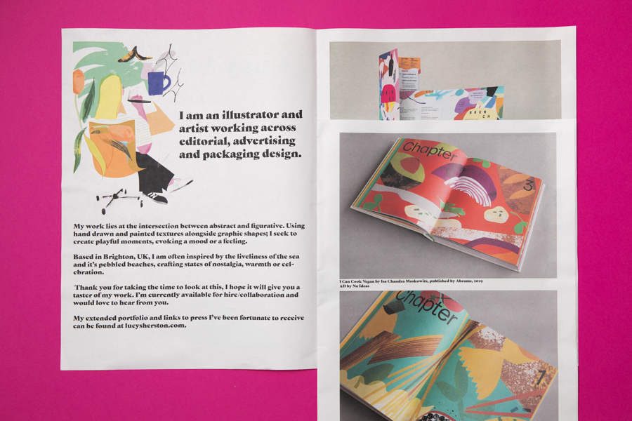 Interior spread from illustrator Lucy Sherston's newsprint portfolio, printed by Newspaper Club