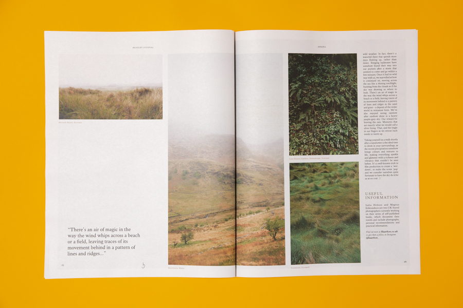 Spread from Beasley, a newspaper for drinks company Seedlip, featuring photography by Haarkon. Printed as a tabloid by Newspaper Club.
