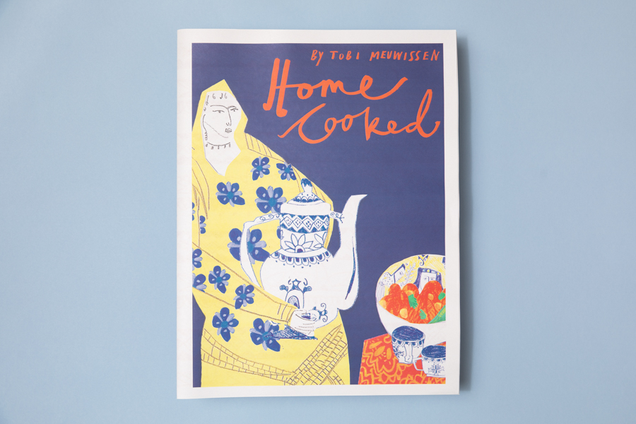 Cover of Home Cooking, an illustrated newspaper celebrating our multicultural society through food. Illustrated by Tobi Meuwissen. Printed by Newspaper Club.