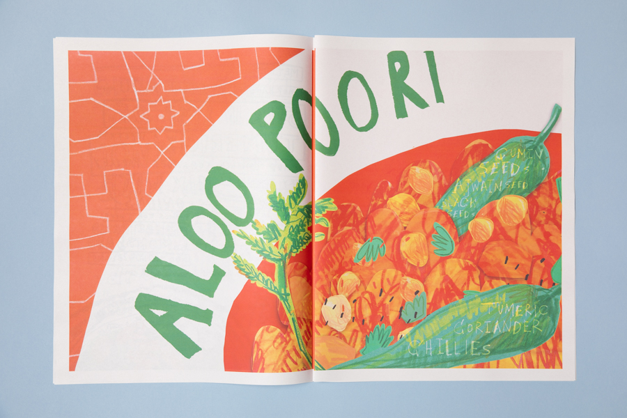 Spread from Home Cooking, an illustrated newspaper celebrating our multicultural society through food. Illustrated by Tobi Meuwissen. Printed by Newspaper Club.