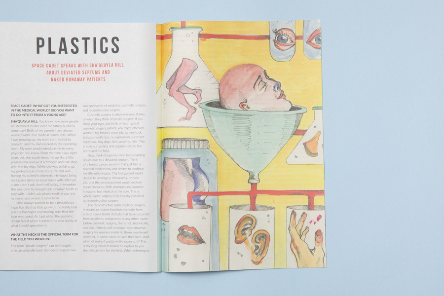 Inside spread from illustrated zine Space Cadet, interview with a Physicians Assistant in a plastic surgery ward. Published by ROBIN SCHEINES & NATALIA OLBINSKI. Printed by Newspaper Club.