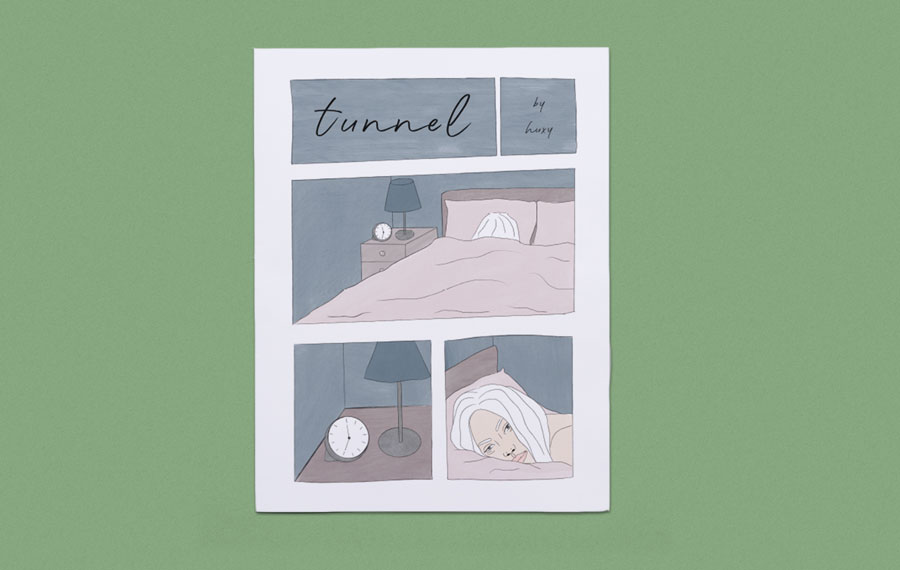 Tunnel, a comic about depression illustrated by Hux Johannsdottir. Printed by Newspaper Club.