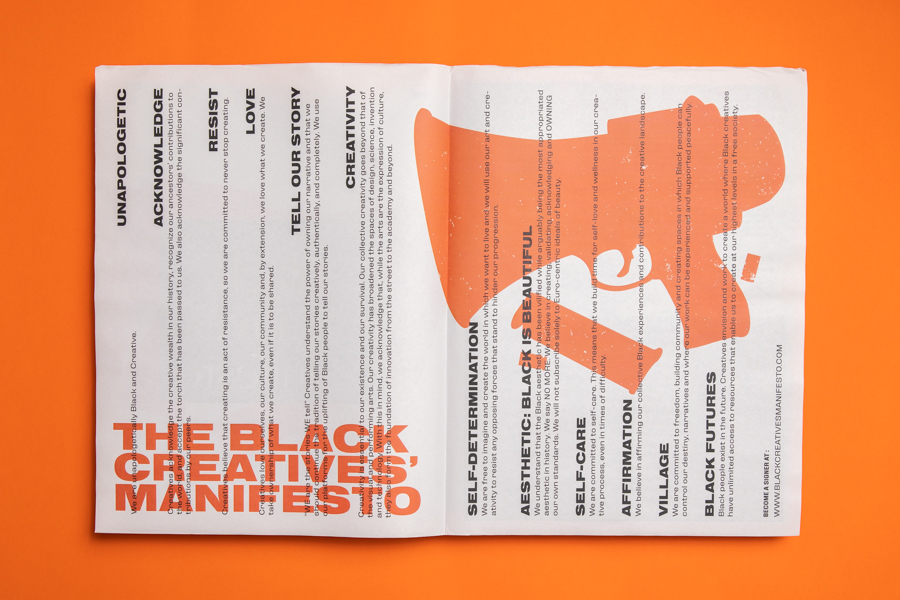 "The Black Creatives' Manifesto aims ""to inspire and affirm Black Creatives and our collective contributions to the world. Printed as a tabloid newspaper by Newspaper Club."