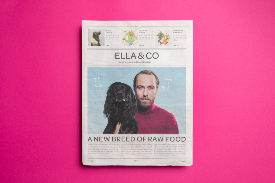 Newspaper for Ella & Co dog food brand. Printed by Newspaper Club on tabloid newspaper.
