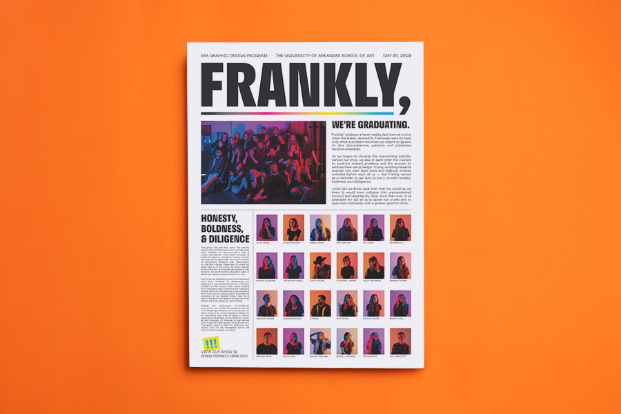 University of Arkansas — BFA Graphic Design graduate catalogue printed by Newspaper Club