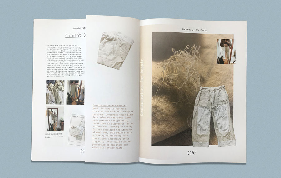Ann Finkel's dissertation Slow explores the pillars of sustainable fashion through the making of 5 garments. Printed as a tabloid by Newspaper Club.