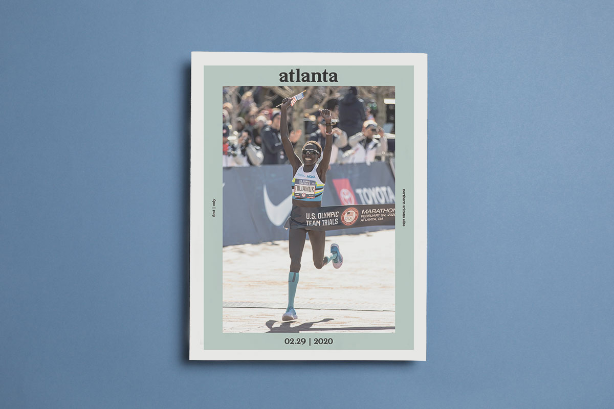 Atlanta is a newspaper from Rabbitwolf Creative, promoting their new documentary film following a handful of elite marathoners as they prepared for the 2020 United States Olympic Trials. Printed by Newspaper Club.