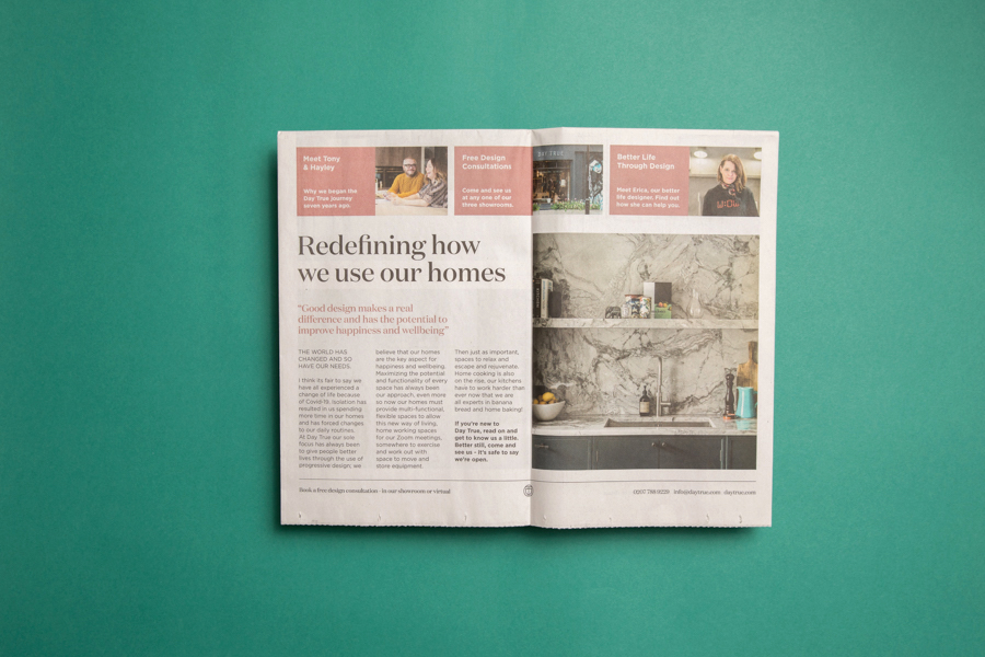 "London-based home design studio Day True uses a broadsheet newspaper as a ""modern, trendy newsletter,"" which they deliver to clients' homes and businesses and use in-store. Printed by Newspaper Club."