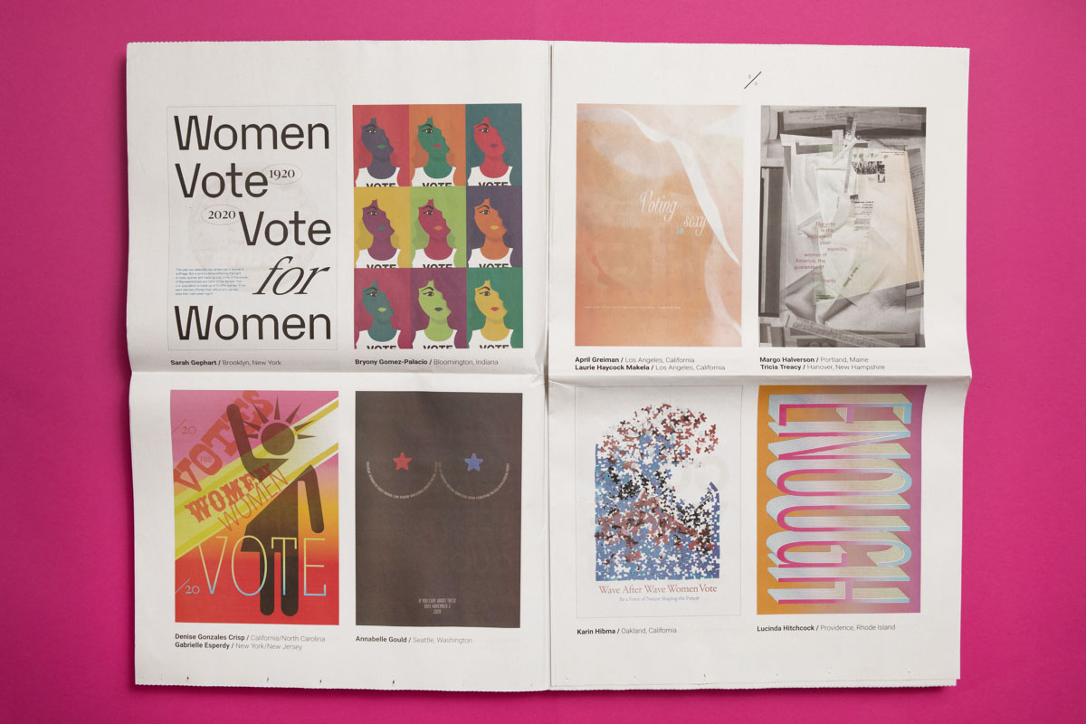 AIGA's Get Out the Vote: Empowering the Women's Vote poster campaign. Newsprint catalogue printed by Newspaper Club.