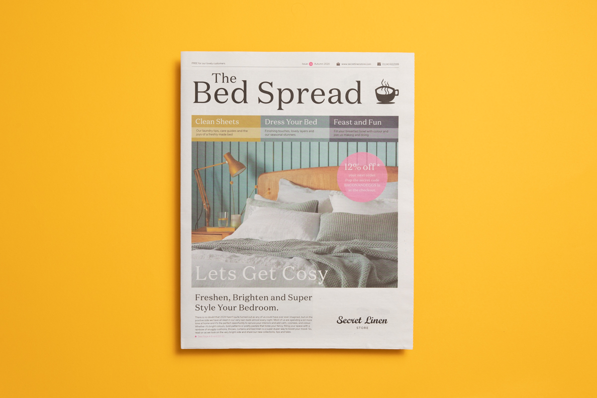 The Bed Spread newsprint catalogue from Secret Linen Store. Printed by Newspaper Club.