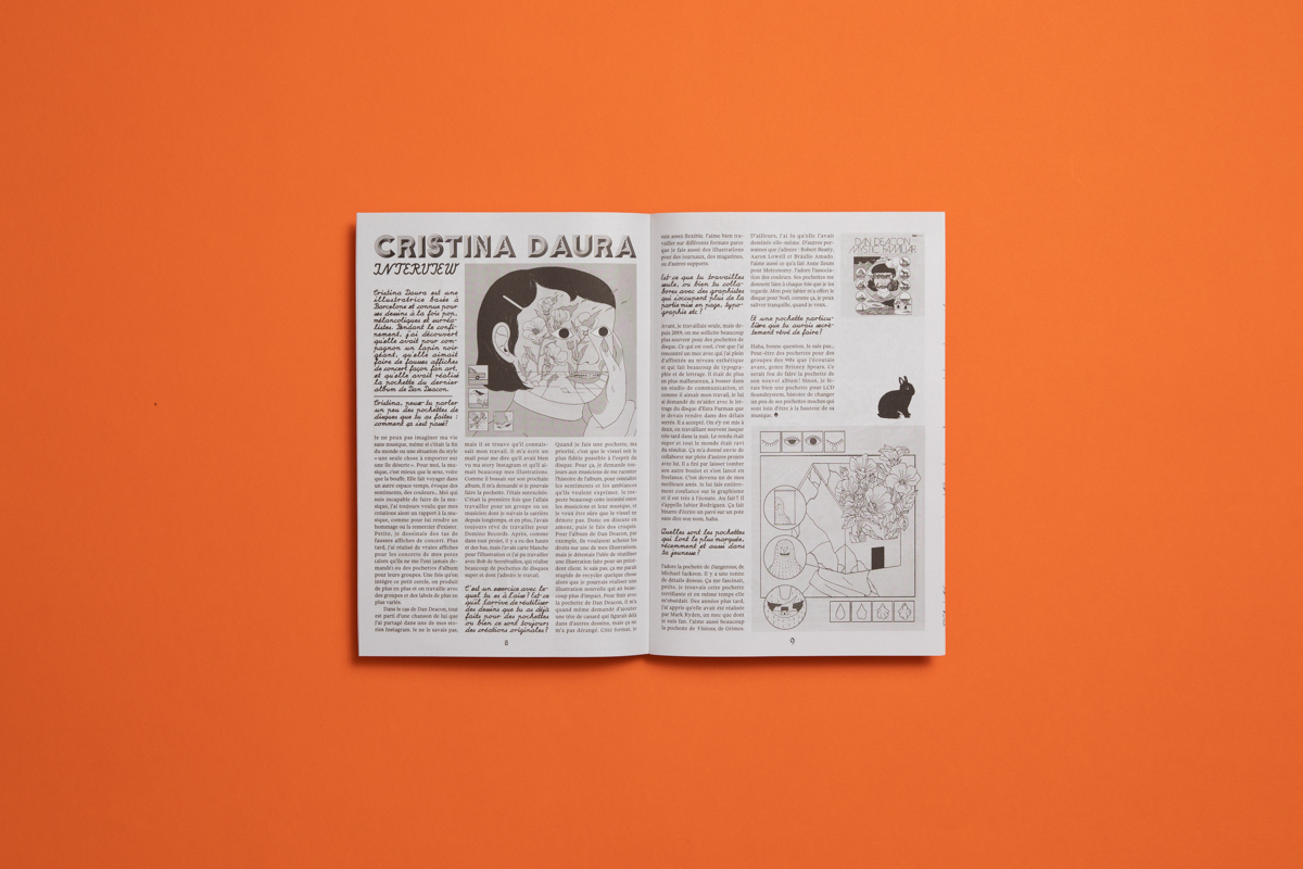 Ventoline music zine by Félicité Landrivon, featuring illustration by Cristina Daura. Printed by Newspaper Club.