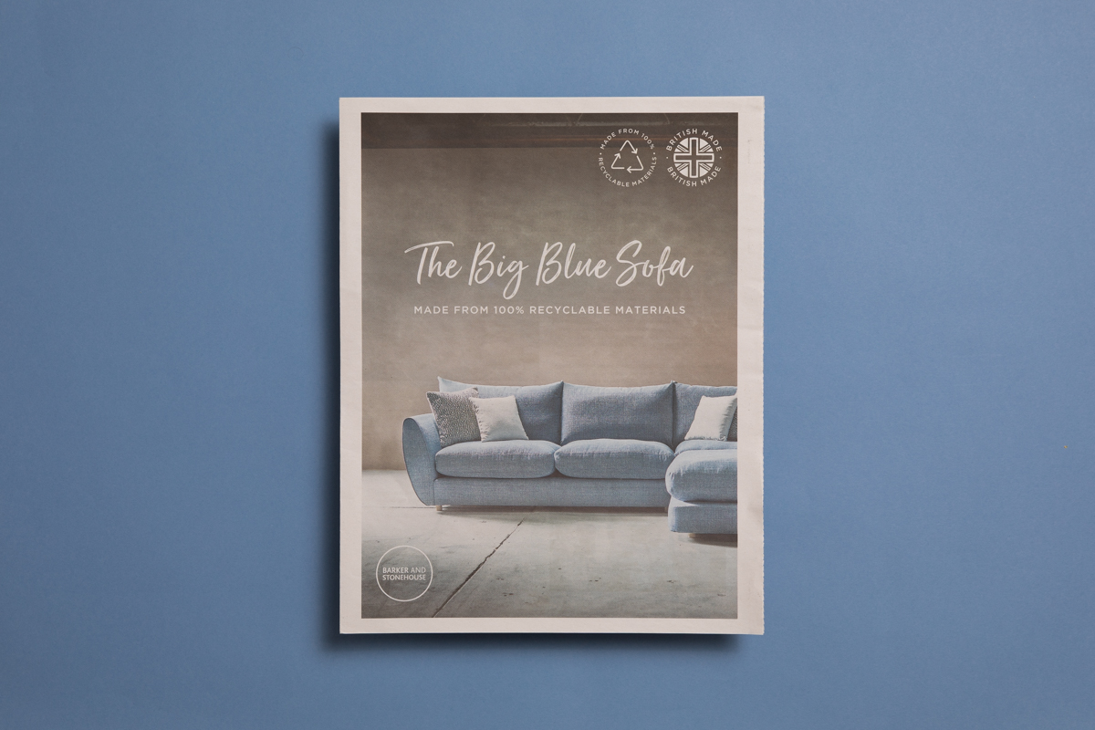 Big Blue Sofa catalogue for Barker and Stonehouse, printed by Newspaper Club