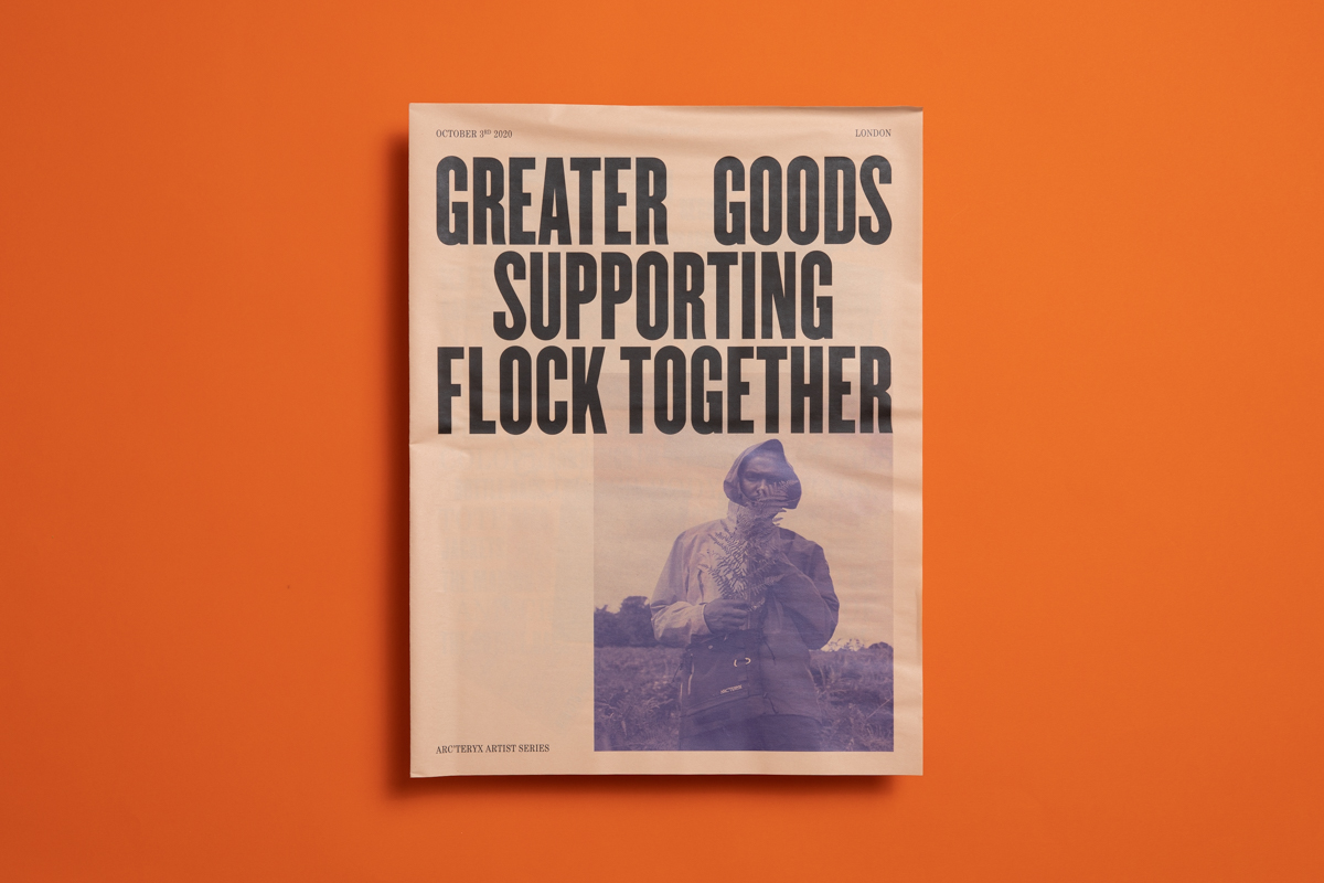 Newspaper for Greater Goods collaboration with Arc'teryx and Flock Together bird watching group.