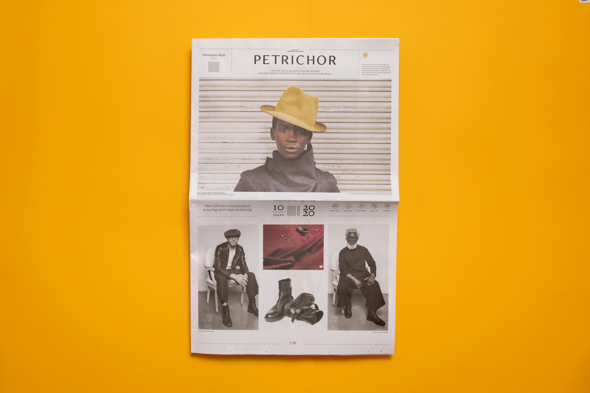 Petrichor is a newspaper from rainwear brand Norwegian Rain, printed by Newspaper Club