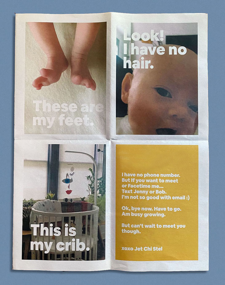 If you can't introduce your baby in person, Hey Hey Baby is a new service offering a clever alternative: birth announcements that fold out into a life-size poster, printed by Newspaper Club.
