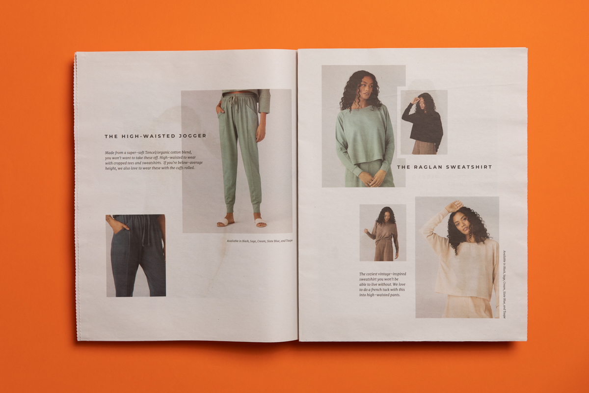 Vetta loungewear lookbook printed by Newspaper Club