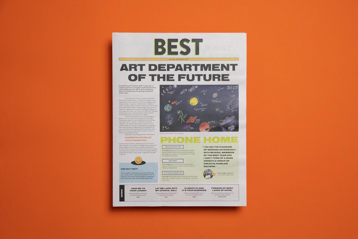 Creative studio BEST's spring promo, printed by Newspaper Club.
