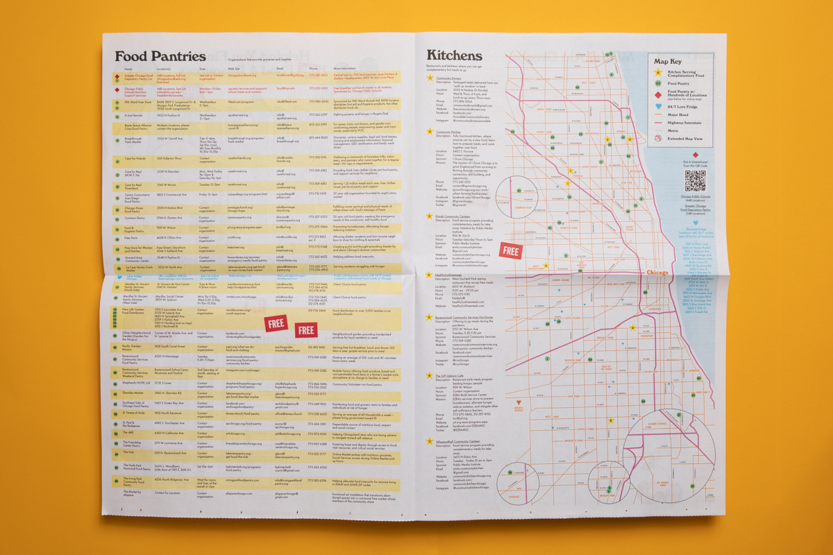 Chicago Mutual Aid map published by Public Media Institute. Printed by Newspaper Club.
