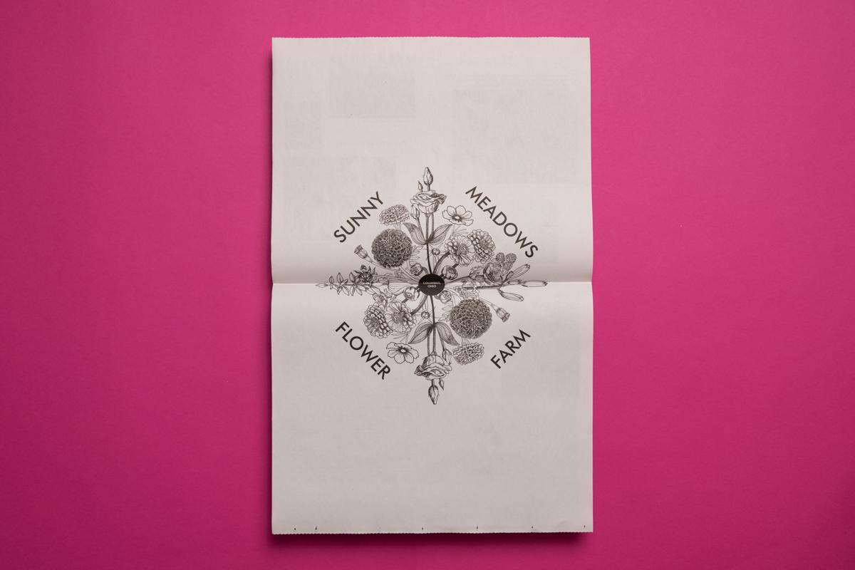 Sunny Meadows Flower Farm broadsheet. Printed by Newspaper Club.
