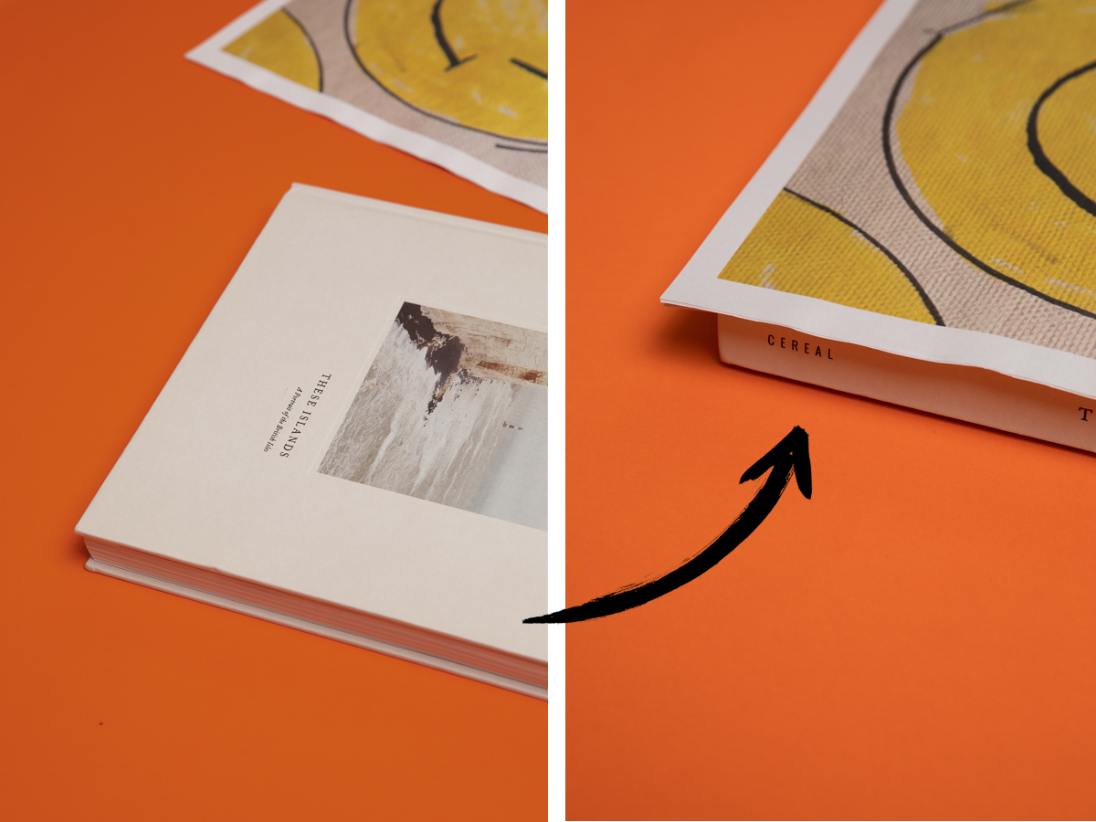 Image showing a newspaper before and after elevating it with a book underneath
