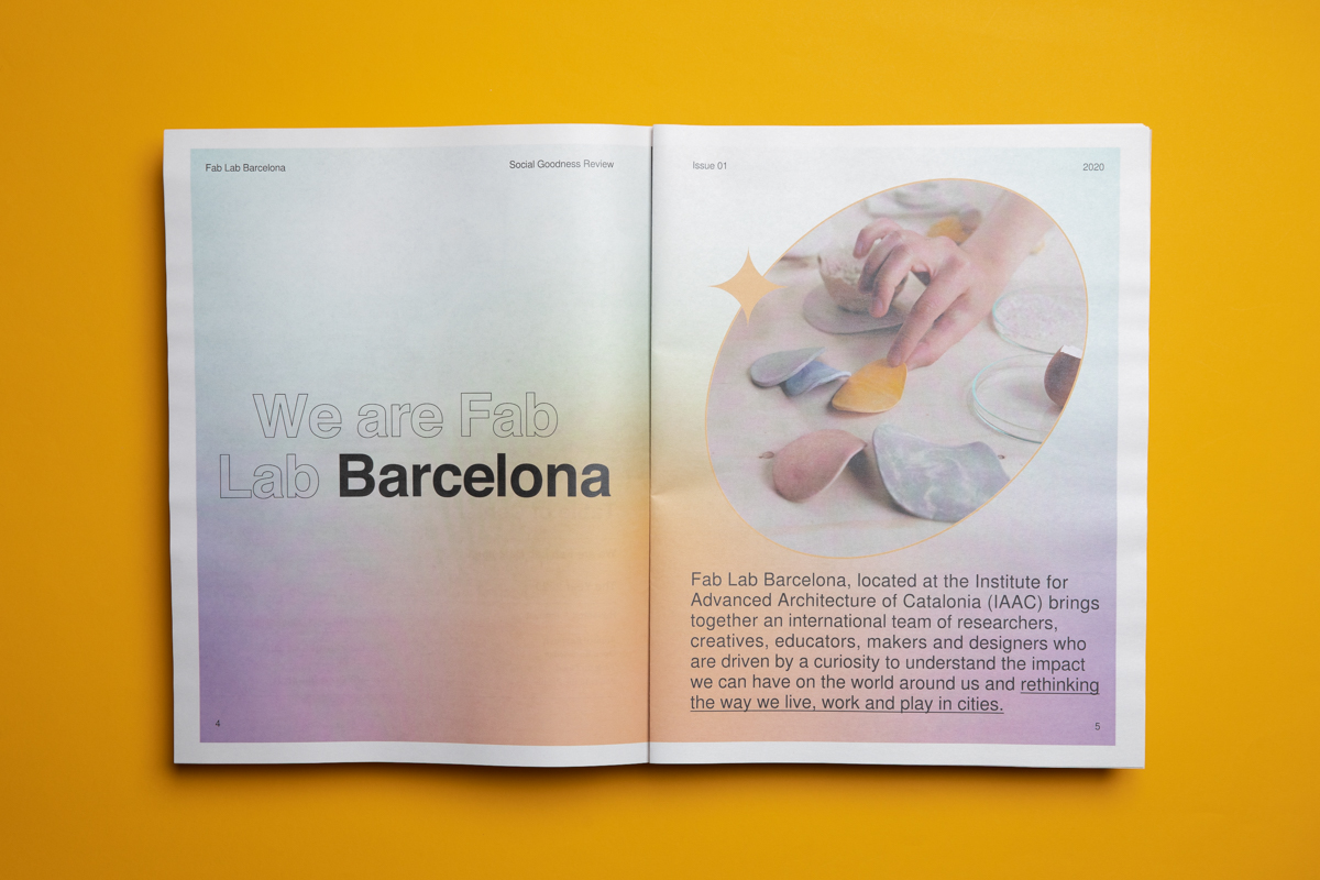 Social Goodness Review. Annual report for Fab Lab Barcelona, printed by Newspaper Club.