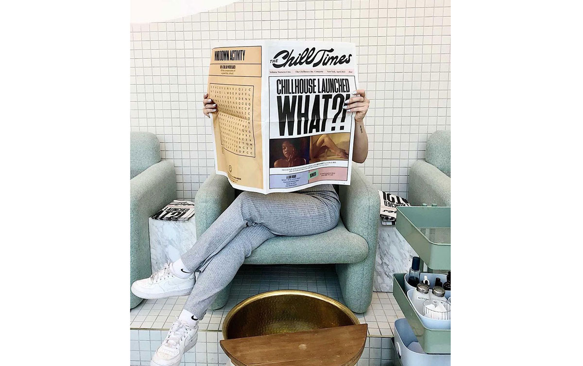 To celebrate the launch of their new line of oils, self-care brand Chillhouse created this newspaper for customers to read while waiting for services at their spa in NYC. Printed by Newspaper Club on traditional broadsheets.