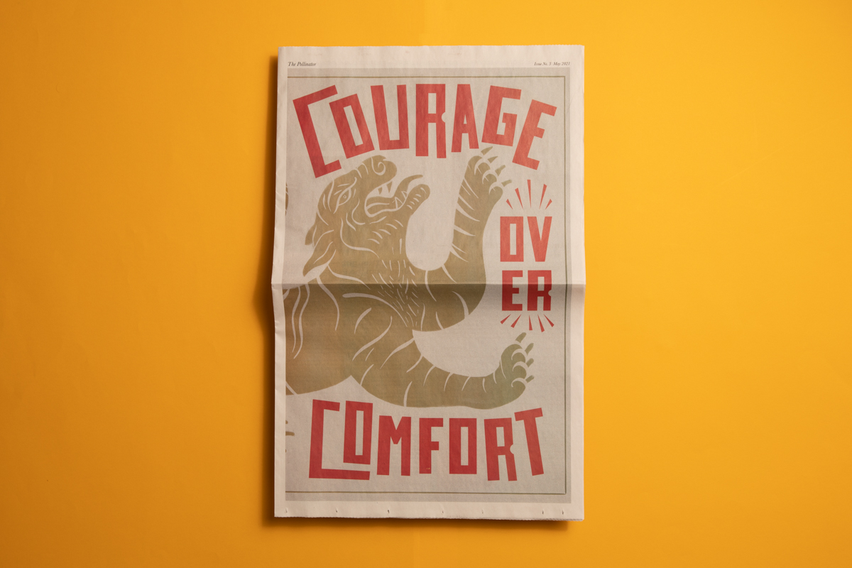 Courage Over Comfort zine by Potli. Printed by Newspaper Club.