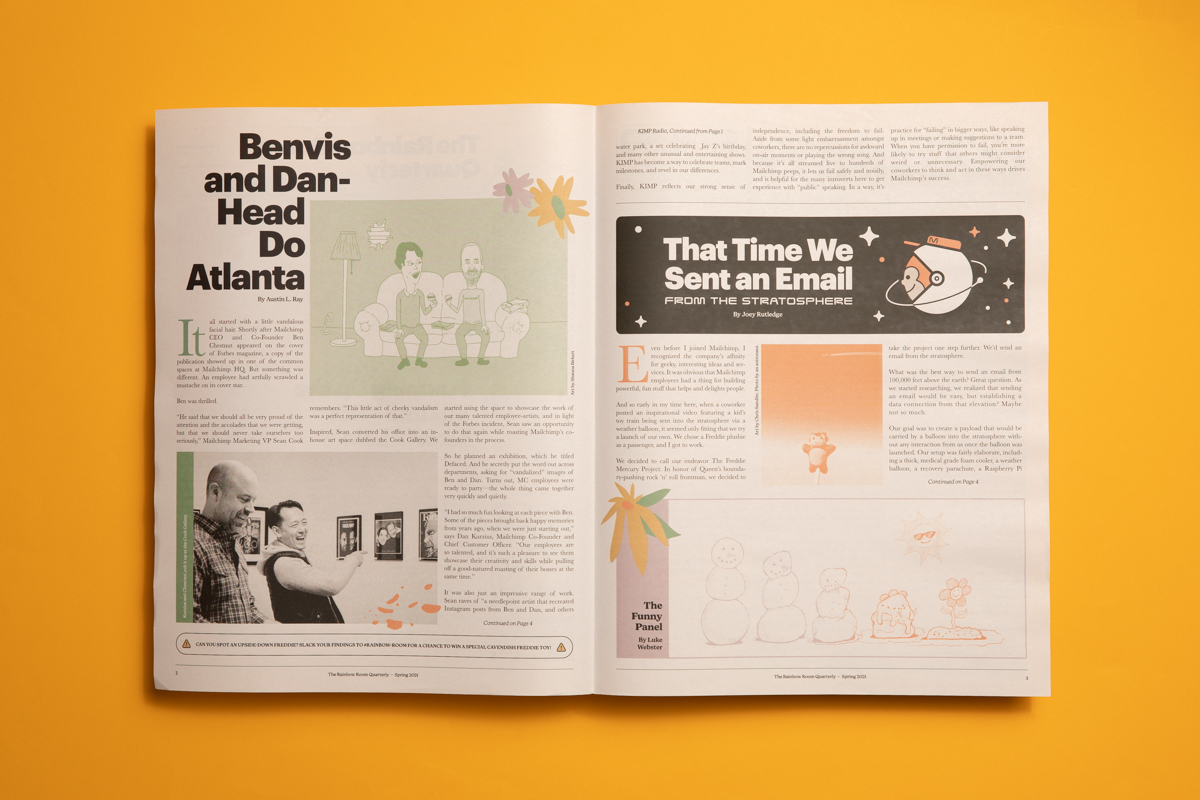 Rainbow Room, a quarterly newspaper for Mailchimp employees. Printed by Newspaper Club.